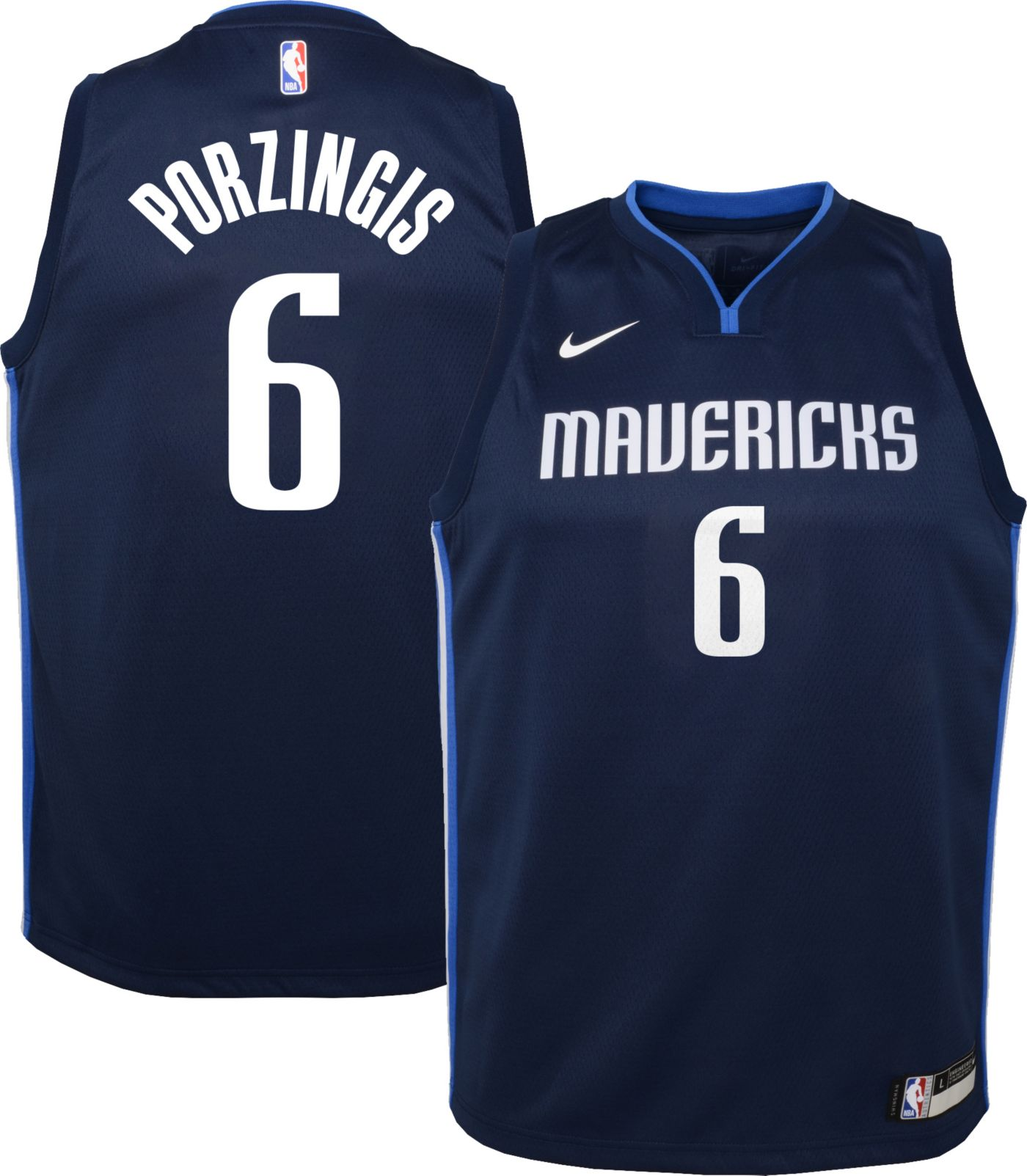 Nike Youth Dallas Mavericks Kristaps Porzingis #6 Navy Dri-FIT Statement Swingman Jersey