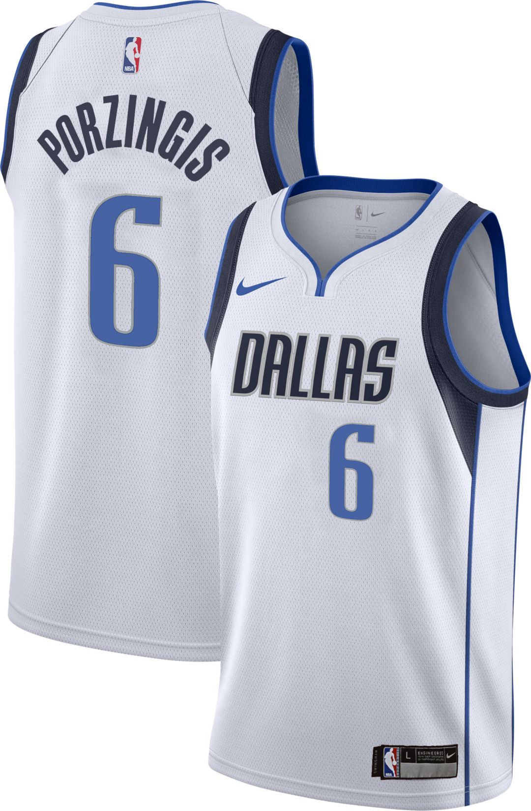 low priced 3a5bc b7c42 Nike Youth Dallas Mavericks Kristaps Porzingis #6 White Dri-FIT Swingman  Jersey