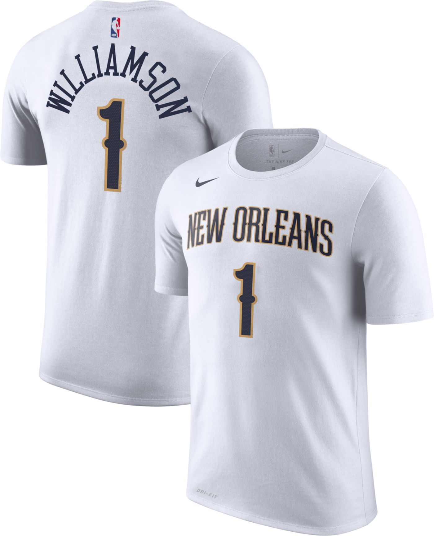 Nike Youth New Orleans Pelicans Zion Williamson #1 Dri-FIT White T-Shirt