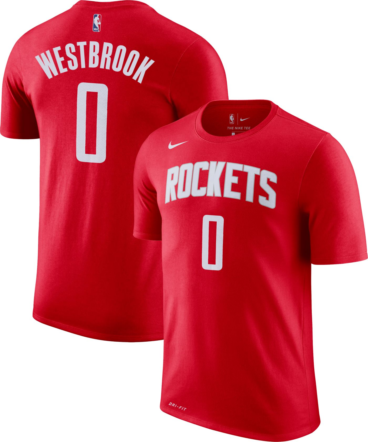 Nike Youth Houston Rockets Russell Westbrook #0 Dri-FIT Red T-Shirt