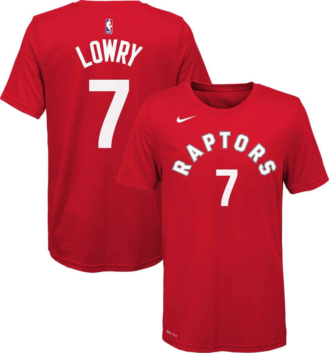 7f353379ca759 Nike Youth Toronto Raptors Kyle Lowry #7 Dri-FIT Red T-Shirt ...