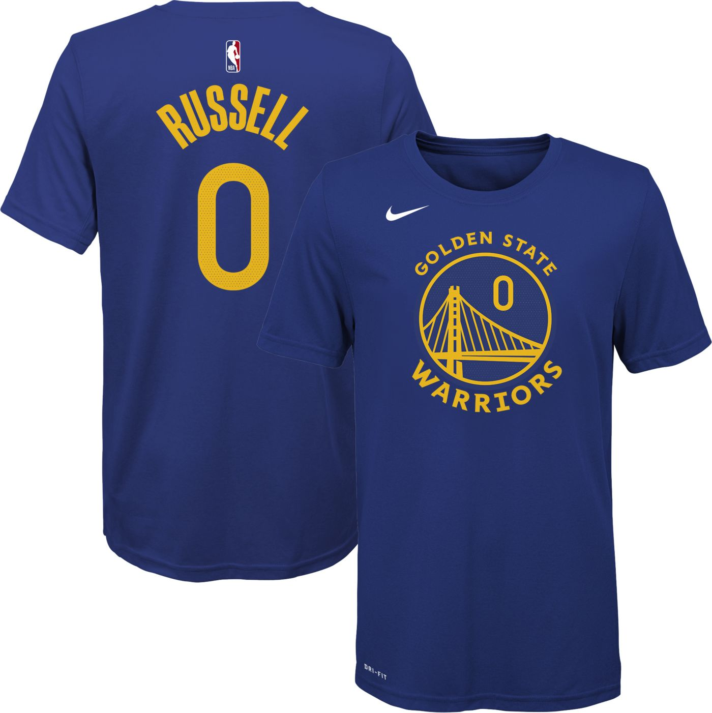 Nike Youth Golden State Warriors D'Angelo Russell #0  Dri-FIT Blue T-Shirt