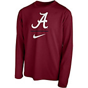 Nike Youth Alabama Crimson Tide Crimson Legend Stacked Long Sleeve T-Shirt