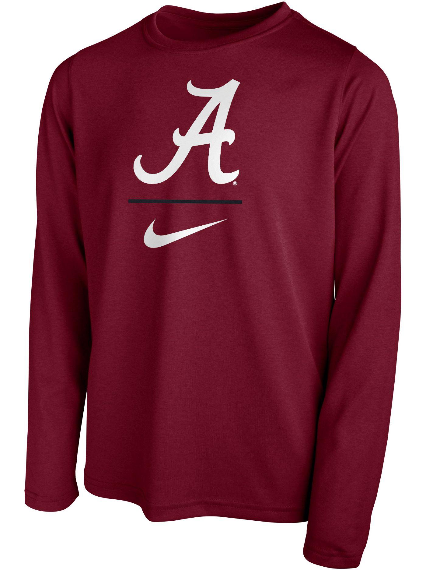 Nike Youth Alabama Crimson Tide Crimson Legend Stacked Long Sleeve T-Shirt