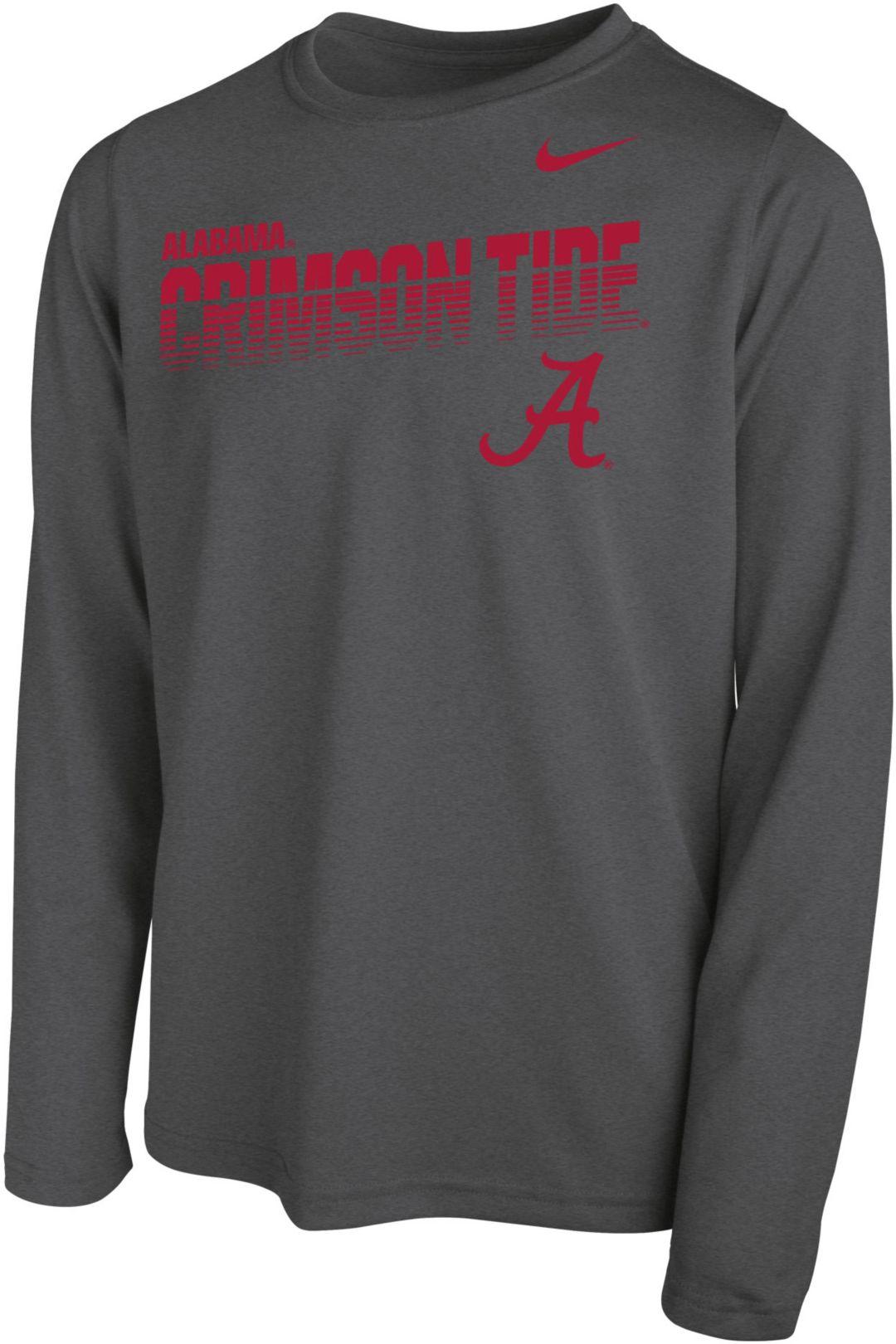 promo code aad98 37ab8 Nike Youth Alabama Crimson Tide Grey Legend Football Sideline Long Sleeve  T-Shirt