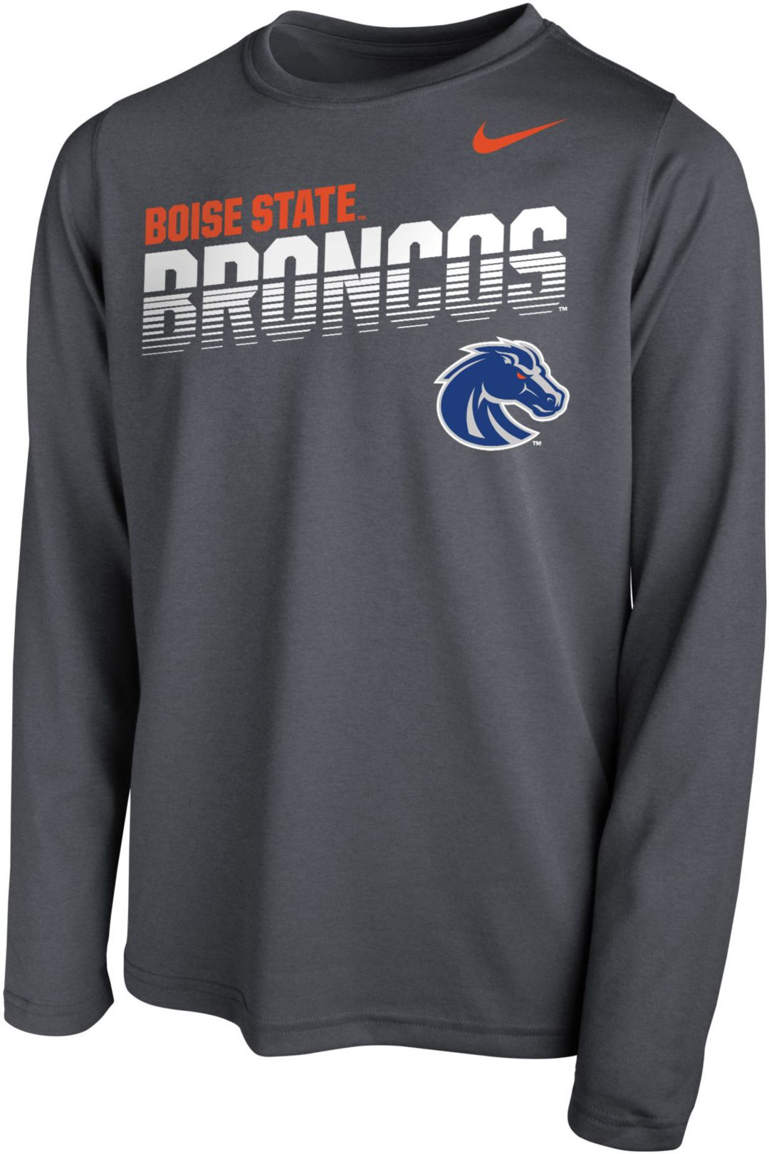 new product 7fc28 ed18d Nike Youth Boise State Broncos Grey Legend Football Sideline Long Sleeve  T-Shirt