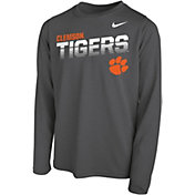 Nike Youth Clemson Tigers Grey Legend Football Sideline Long Sleeve T-Shirt