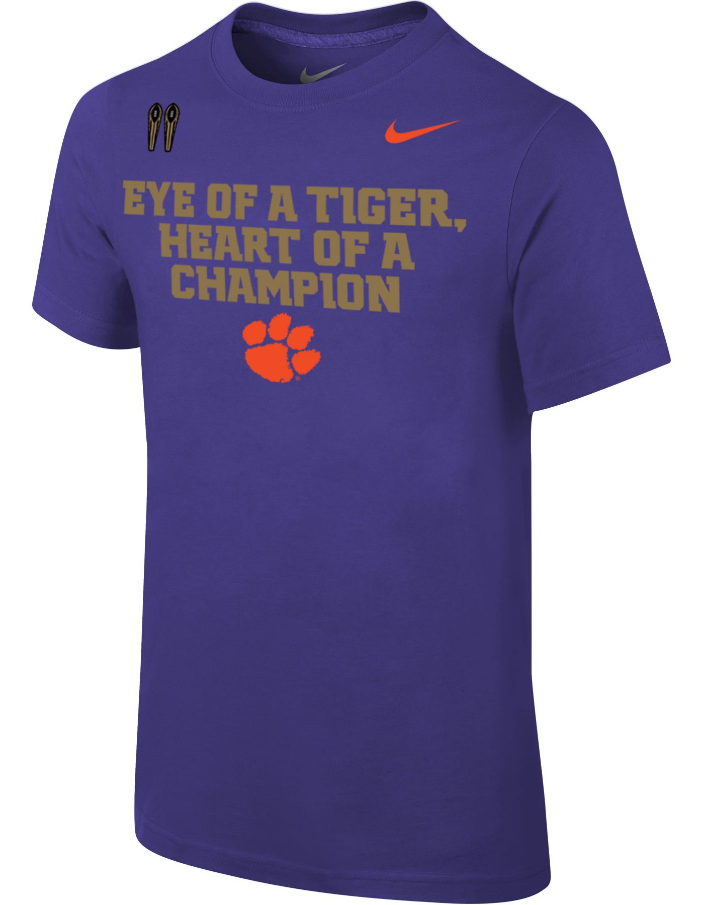 Nike Youth Clemson Tigers Regalia 'Eye of a Tiger, Heart of a Champion' Mantra T-Shirt