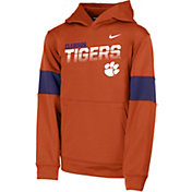 Nike Youth Clemson Tigers Orange Therma Football Sideline Pullover Hoodie