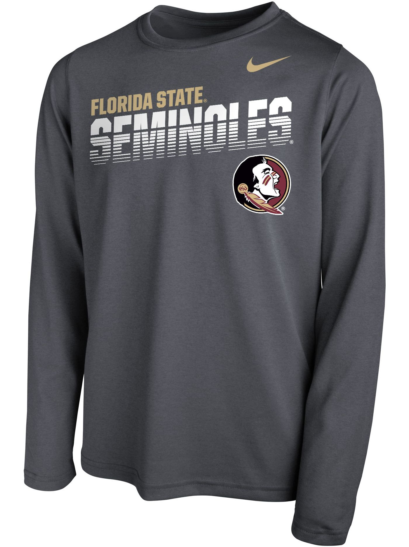 Nike Youth Florida State Seminoles Grey Legend Football Sideline Long Sleeve T-Shirt