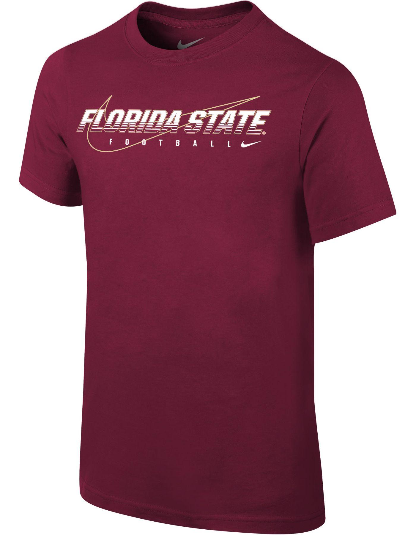Nike Youth Florida State Seminoles Garnet Football Dri-FIT Cotton Facility T-Shirt