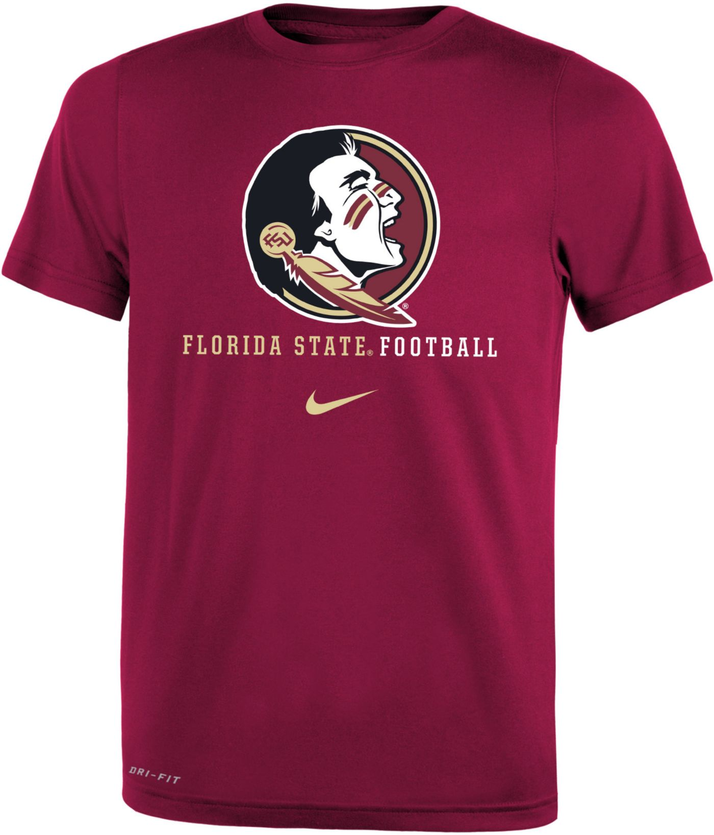 Nike Youth Florida State Seminoles Garnet Football Icon Wordmark T-Shirt