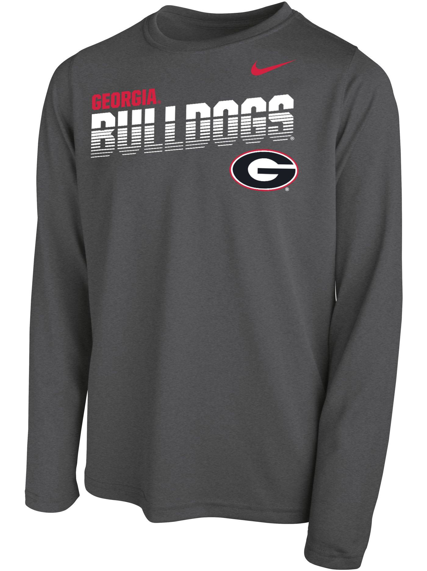 Nike Youth Georgia Bulldogs Grey Legend Football Sideline Long Sleeve T-Shirt