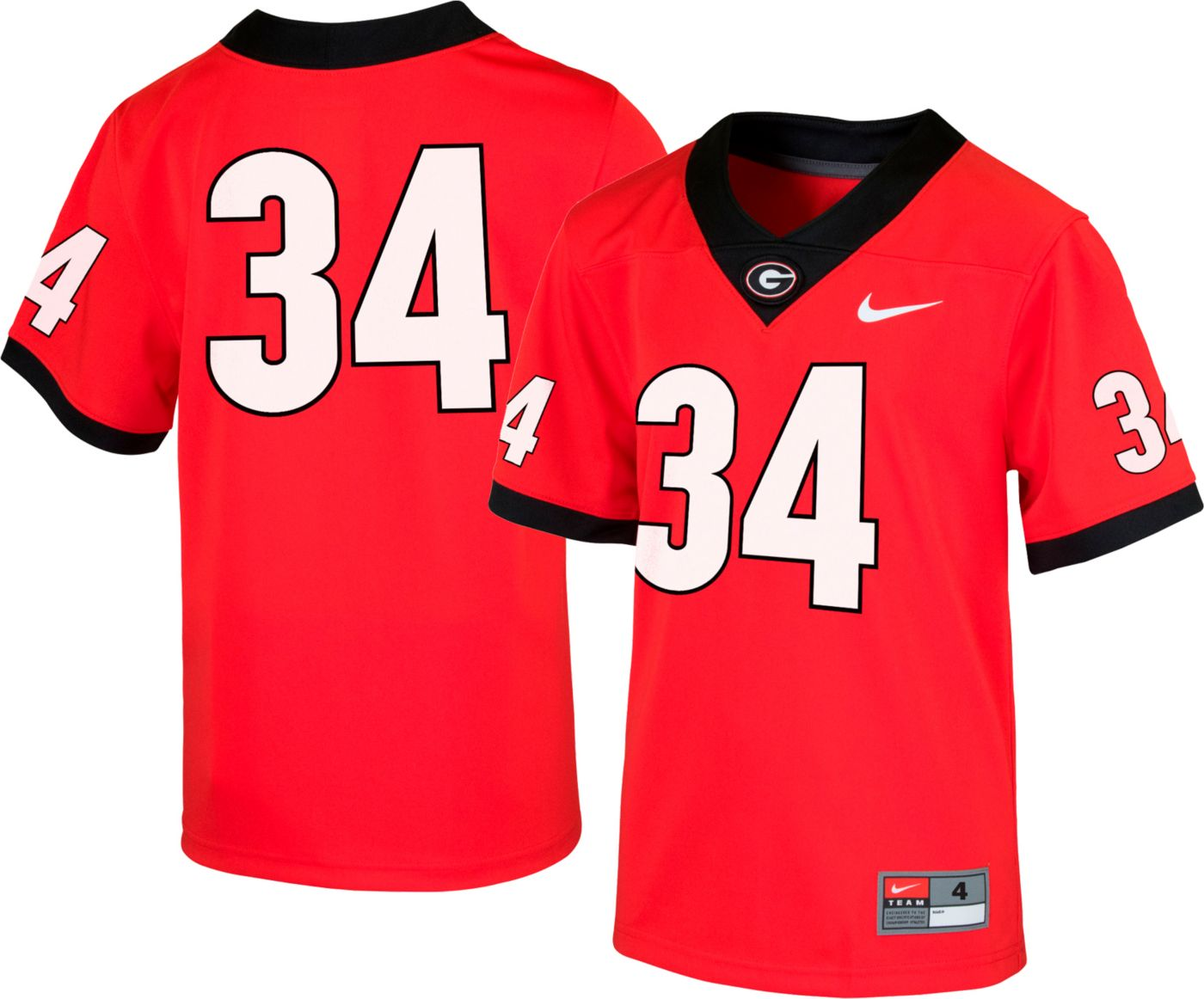 Nike Boys' Georgia Bulldogs #34 Red Replica Football Jersey