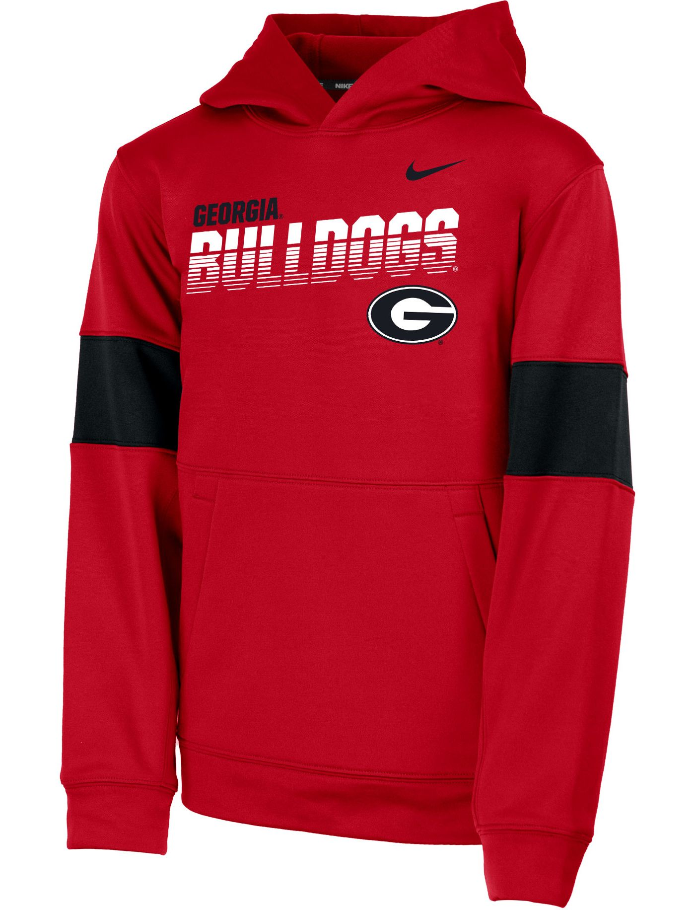 Nike Youth Georgia Bulldogs Red Therma Football Sideline Pullover Hoodie