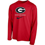 Nike Youth Georgia Bulldogs Red Legend Stacked Long Sleeve T-Shirt