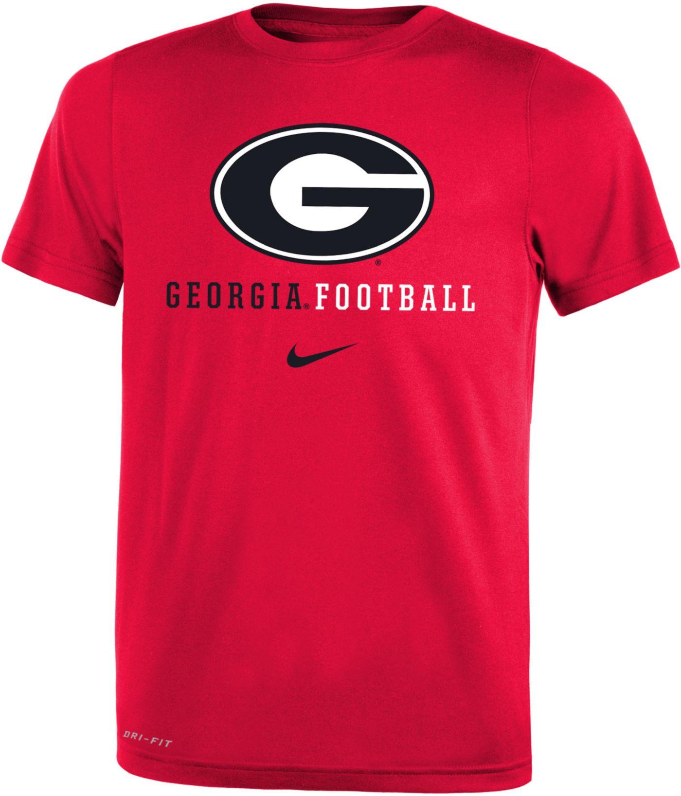 Nike Youth Georgia Bulldogs Red Football Icon Wordmark T-Shirt