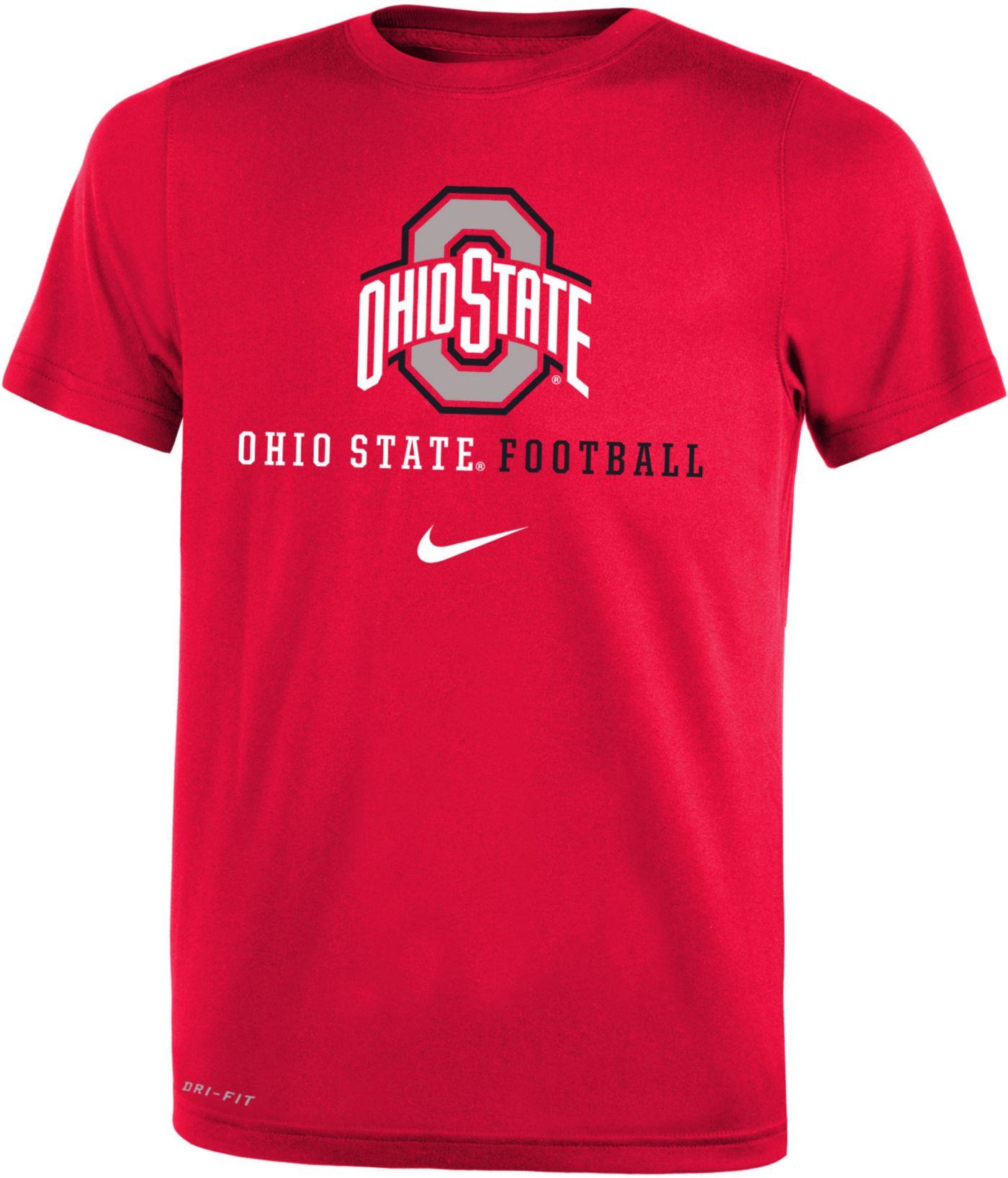 Nike Youth Ohio State Buckeyes Red Football Icon Wordmark T-Shirt