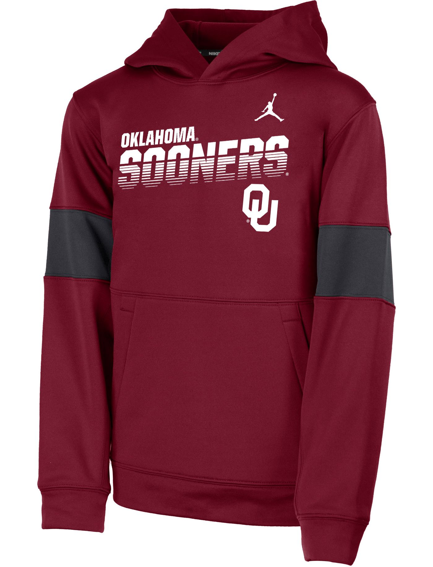 Jordan Youth Oklahoma Sooners Crimson Therma Football Sideline Pullover Hoodie