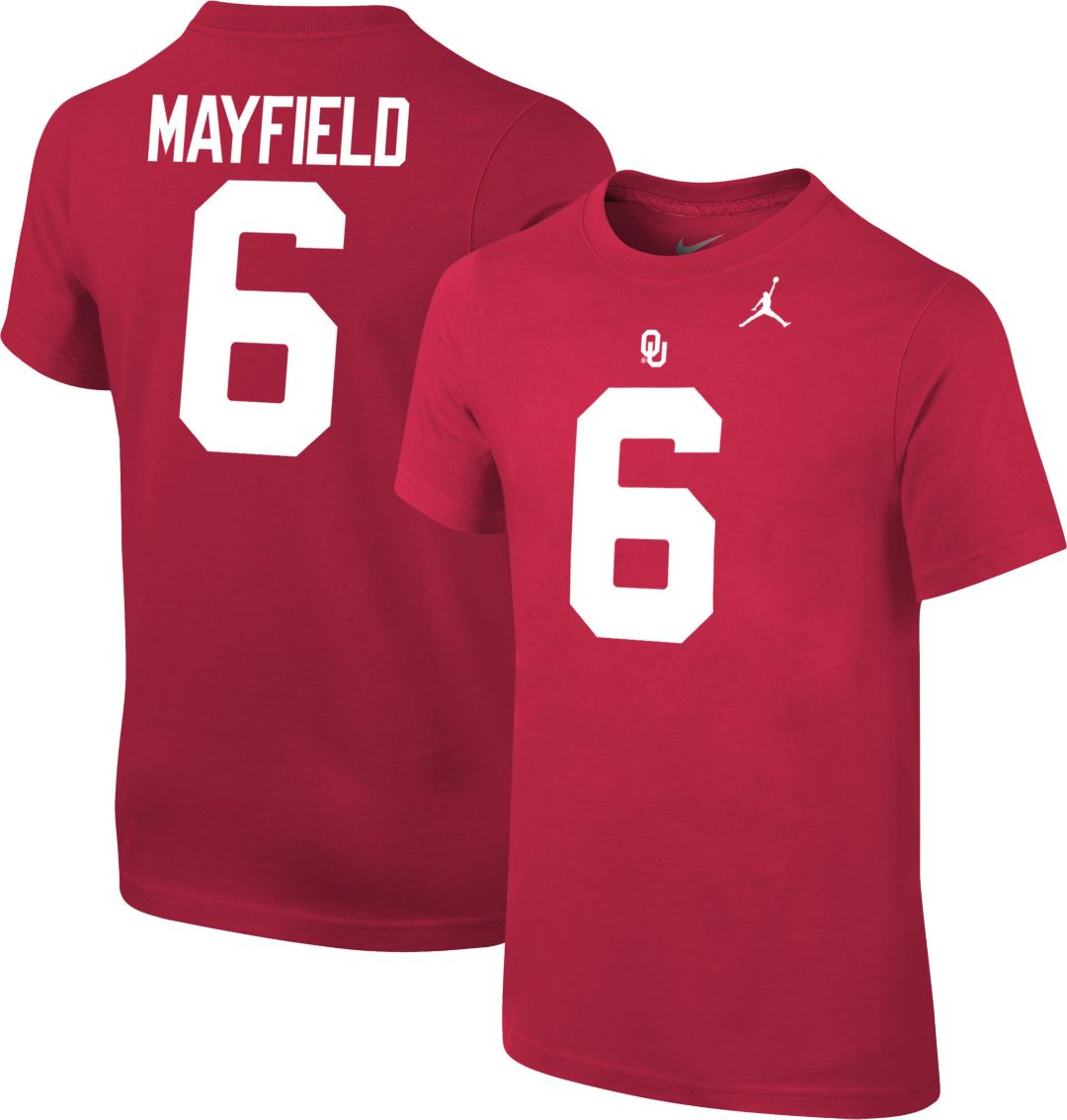 size 40 c09ce 41d33 Jordan Youth Baker Mayfield Oklahoma Sooners #6 Crimson Cotton Football  Jersey T-Shirt
