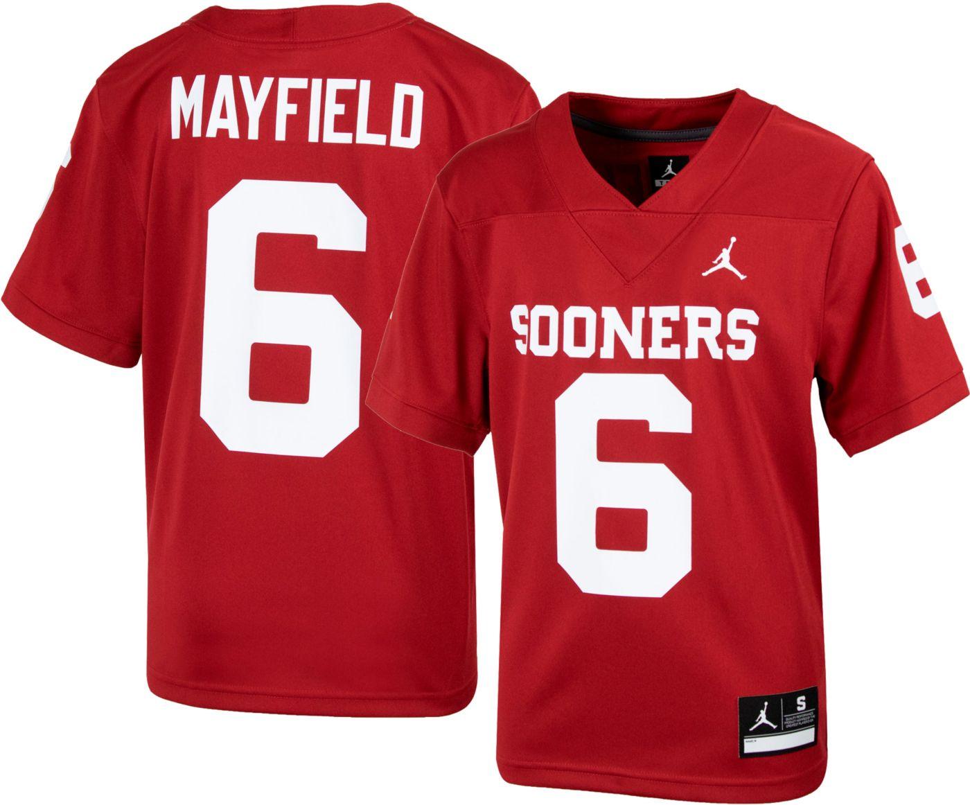 Jordan Youth Baker Mayfield Oklahoma Sooners #6 Crimson Replica Football Jersey