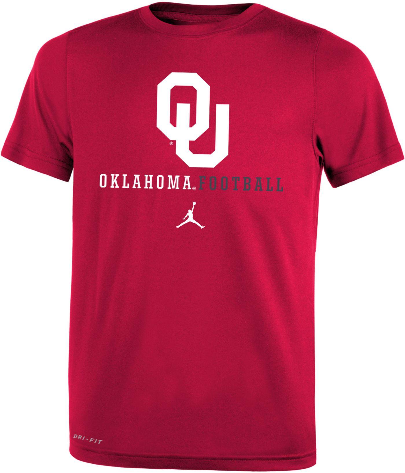 Jordan Youth Oklahoma Sooners Crimson Football Icon Wordmark T-Shirt