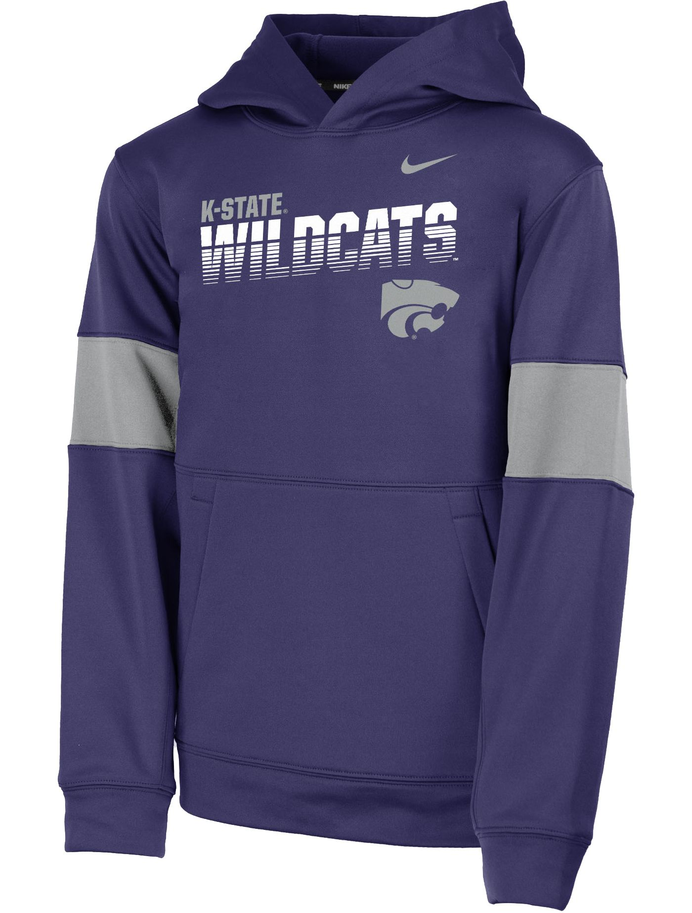 Nike Youth Kansas State Wildcats Purple Therma Football Sideline Pullover Hoodie