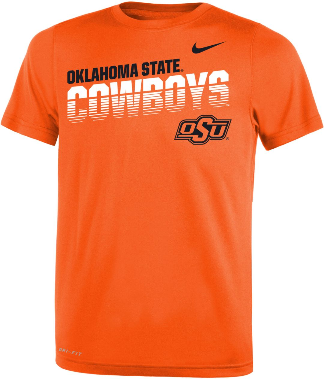 free shipping 157a7 006f8 Nike Youth Oklahoma State Cowboys Orange Legend Football Sideline T-Shirt