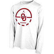 Jordan Youth Oklahoma Sooners Legend Basketball Key Long Sleeve White T-Shirt
