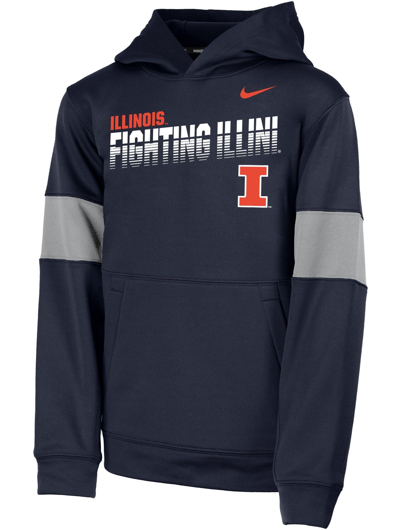 Nike Youth Illinois Fighting Illini Blue Therma Football Sideline Pullover Hoodie