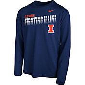 Nike Youth Illinois Fighting Illini Blue Legend Football Sideline Long Sleeve T-Shirt