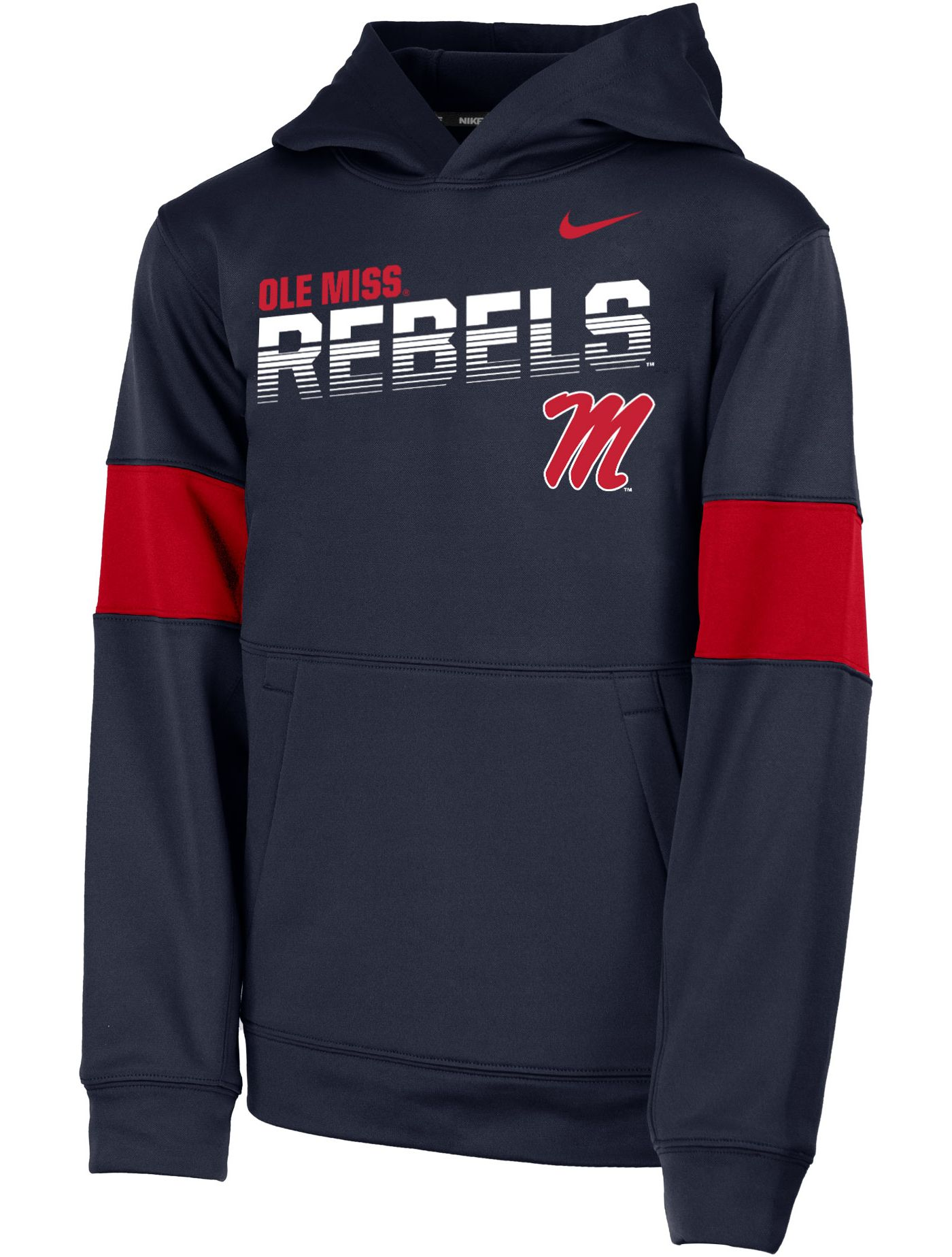 Nike Youth Ole Miss Rebels Blue Therma Football Sideline Pullover Hoodie
