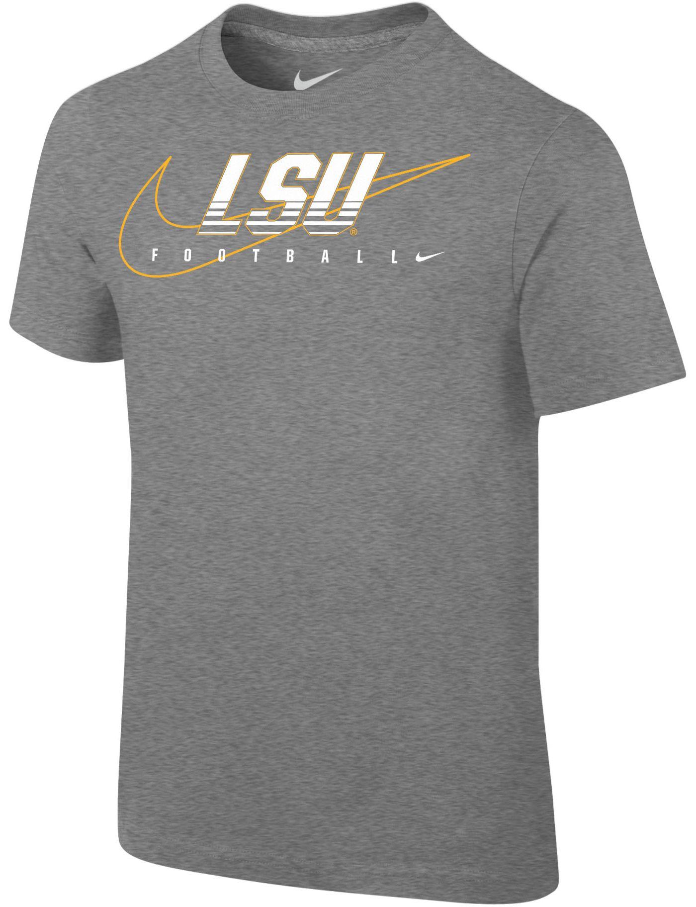 Nike Youth LSU Tigers Grey Football Dri-FIT Cotton Preschool Facility T-Shirt