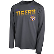 Nike Youth LSU Tigers Grey Legend Football Sideline Long Sleeve T-Shirt