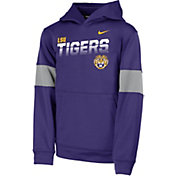 Nike Youth LSU Tigers Purple Therma Football Sideline Pullover Hoodie