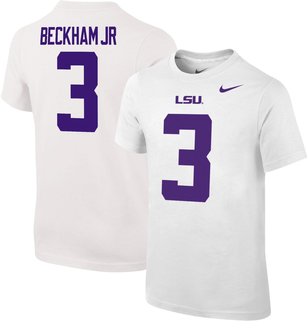 brand new bba99 d0ca4 Nike Youth Odell Beckham Jr. LSU Tigers #3 Cotton Football Jersey White  T-Shirt
