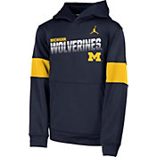 Jordan Youth Michigan Wolverines Blue Therma Football Sideline Pullover Hoodie