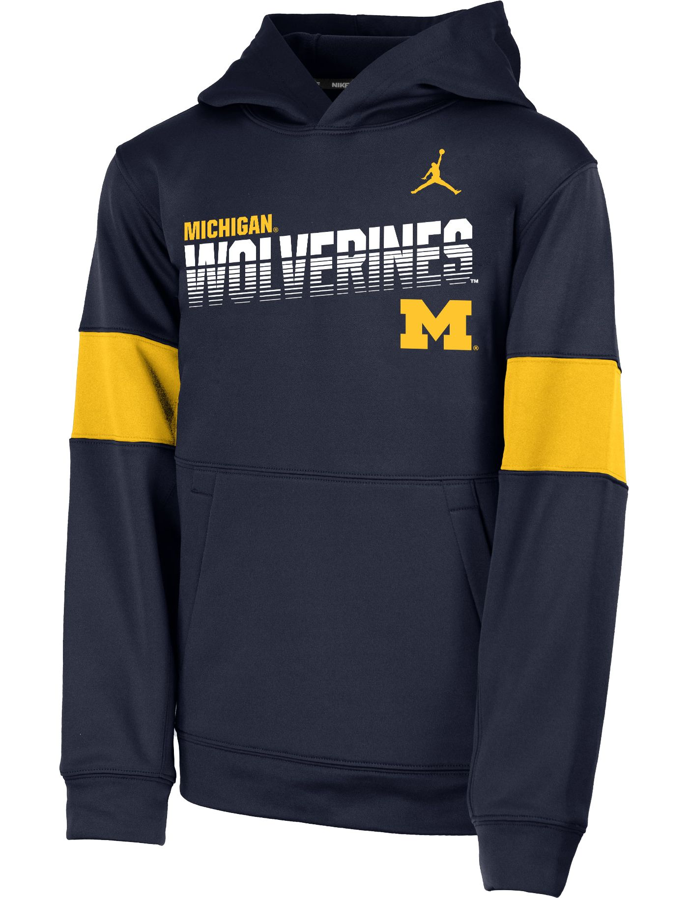 Jordan Youth Michigan Wolverines Maize Therma Football Sideline Pullover Hoodie