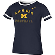 Nike Youth Michigan Wolverines Blue Fan Ringer Football T-Shirt