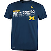 Jordan Youth Michigan Wolverines Blue Legend Football Sideline T-Shirt