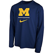 Nike Youth Michigan Wolverines Blue Legend Stacked Long Sleeve T-Shirt