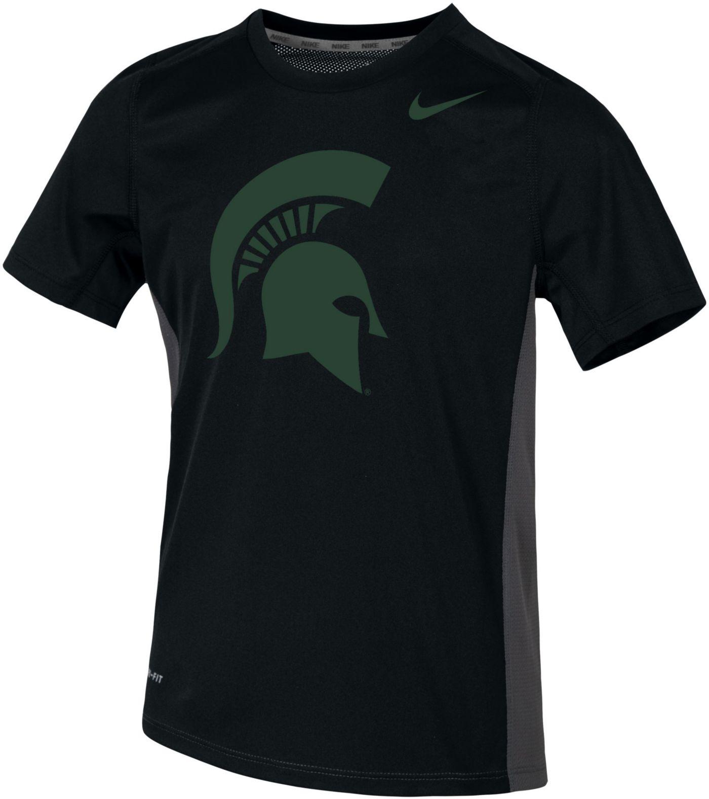 Nike Youth Michigan State Spartans Dri-FIT Miler Black T-Shirt