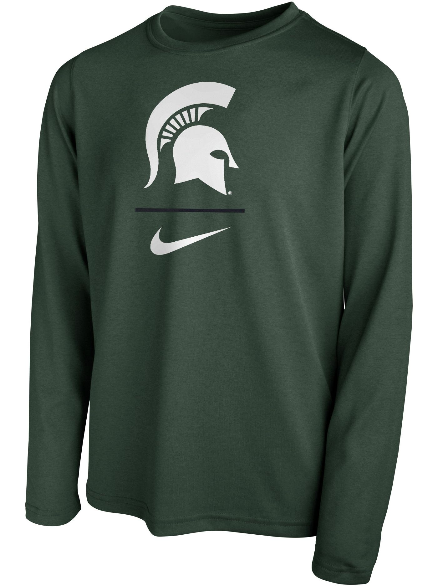 Nike Youth Michigan State Spartans Green Legend Stacked Long Sleeve T-Shirt