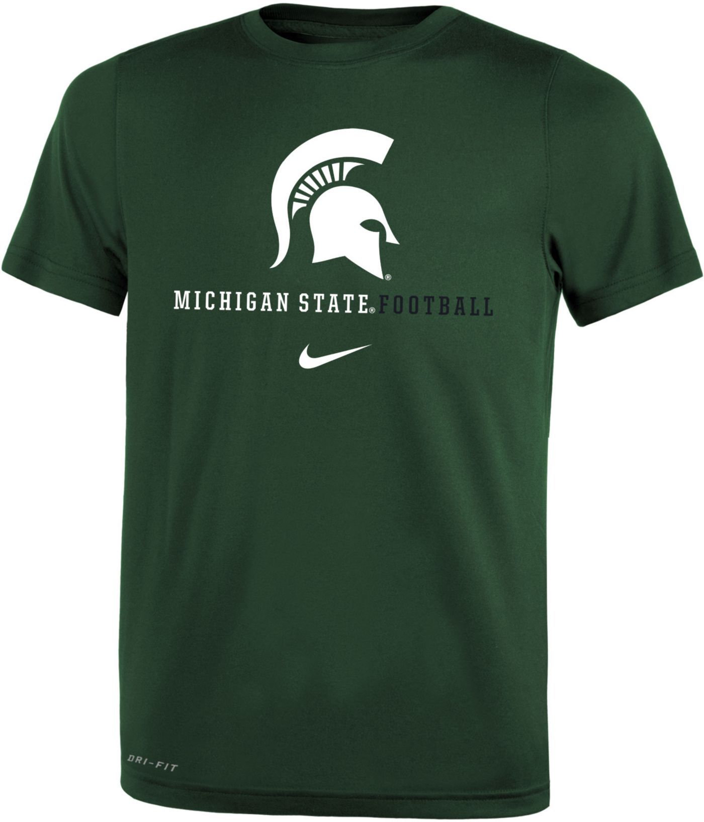 Nike Youth Michigan State Spartans Green Football Icon Wordmark T-Shirt