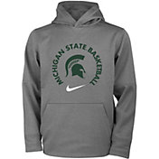 Nike Youth Michigan State Spartans Grey Therma Basketball Hoodie