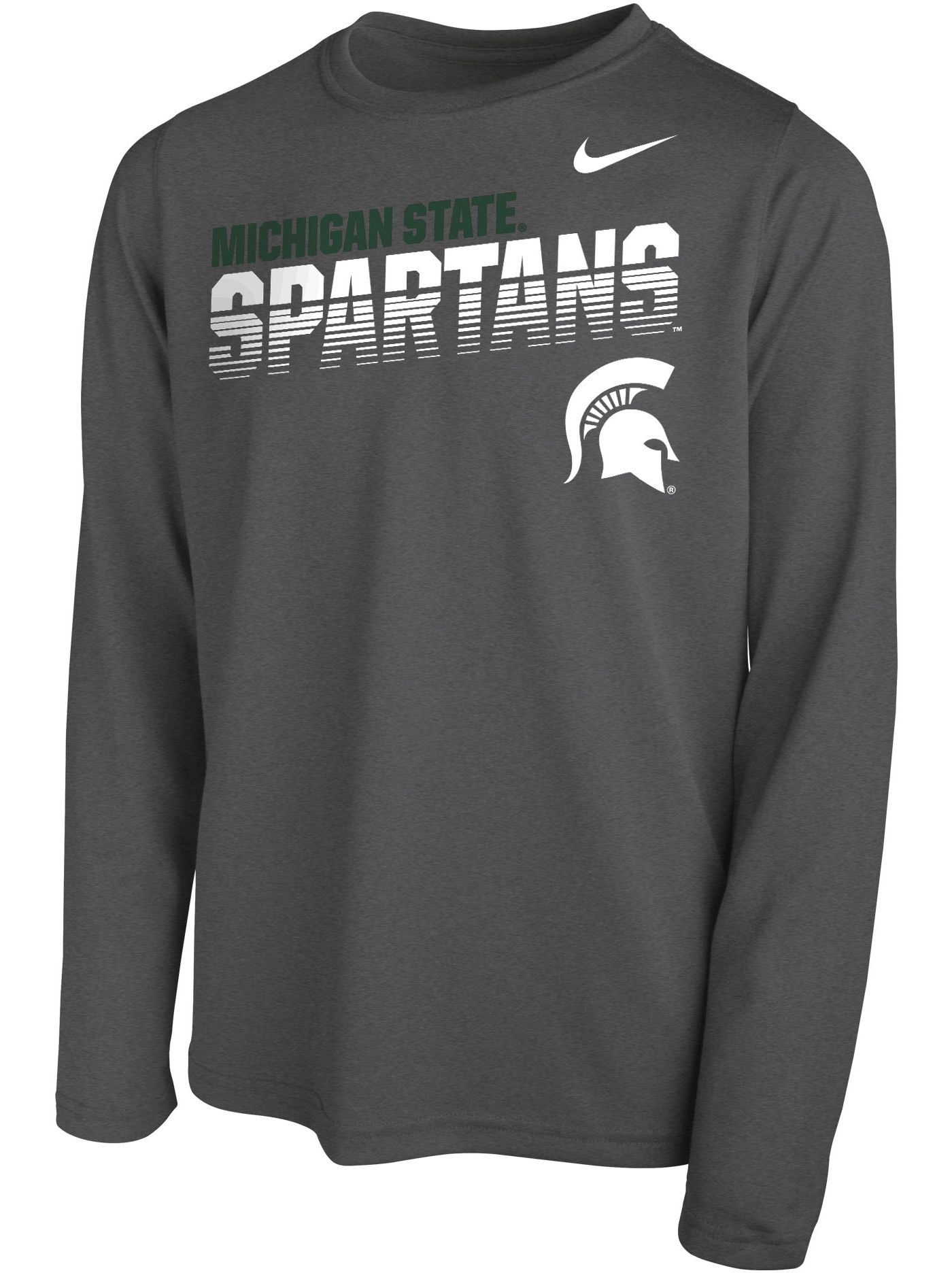 Nike Youth Michigan State Spartans Grey Legend Football Sideline Long Sleeve T-Shirt