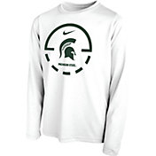 Nike Youth Michigan State Spartans Legend Basketball Key Long Sleeve White T-Shirt