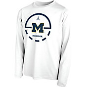 Jordan Youth Michigan Wolverines Legend Basketball Key Long Sleeve White T-Shirt