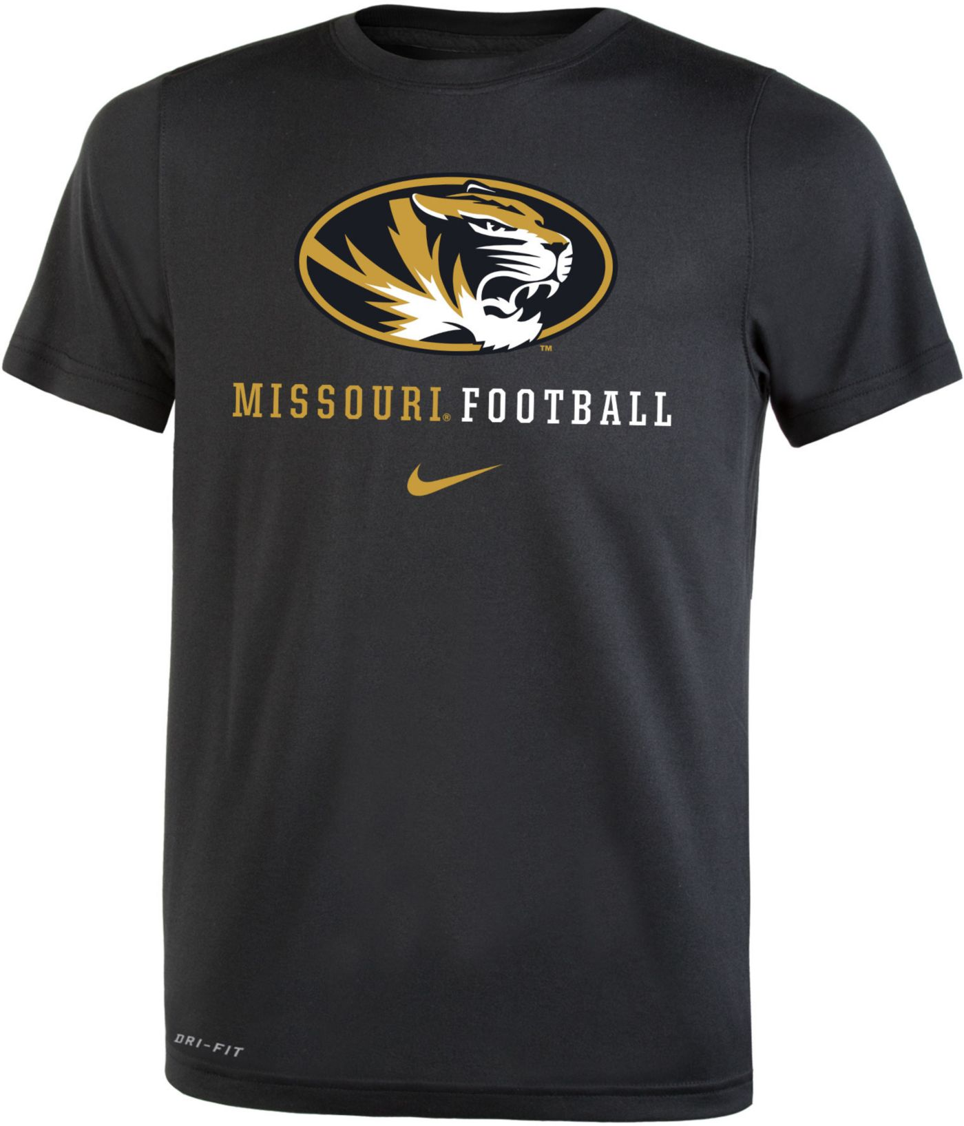 Nike Youth Missouri Tigers Football Icon Wordmark Black T-Shirt