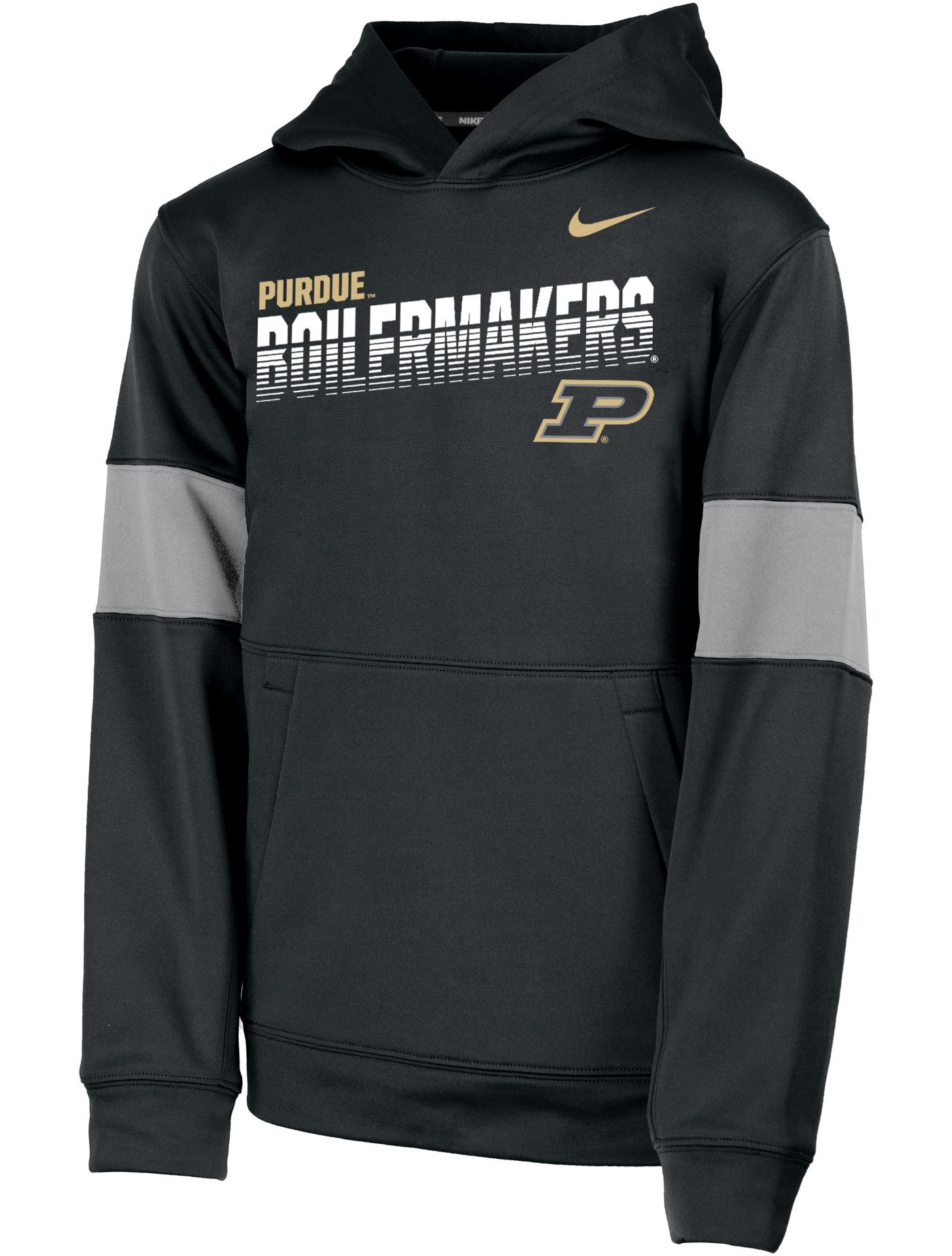 Nike Youth Purdue Boilermakers Therma Football Sideline Pullover Black Hoodie